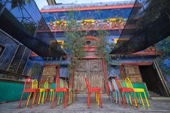 Barrio Antiguo architecture in Monterrey Mexico. January 16, 2016 Monterrey, Mexico: colourful colonial architecture and patio in the historic old town called ` Royalty Free Stock Photo