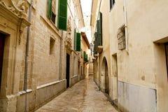 Barrio Calatrava Los Patios in Majorca at Palma. De Mallorca narrow street Stock Photos