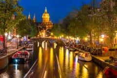 Barrio chino De Wallen de Amsterdam de la noche Imagen de archivo libre de regalías