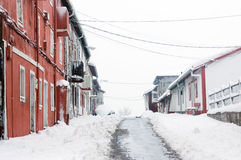 Barrionuevo village with snow Royalty Free Stock Photos