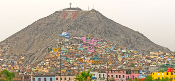 Barrios on an Urban Hill on Latin America Royalty Free Stock Photos