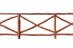 Barrière en bois de rondin d'isolement sur le fond blanc Image stock
