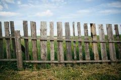 Barrière en bois à l'herbe Photographie stock