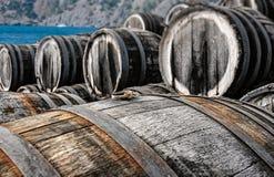 Barris de vinho do carvalho na adega Imagem de Stock Royalty Free