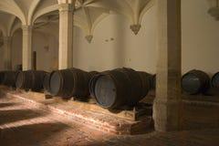 Barris de vinho na adega Imagem de Stock Royalty Free