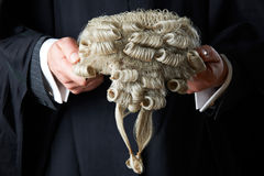 Barrister Holding Wig. Close Up Of Barrister Holding Wig Royalty Free Stock Photo