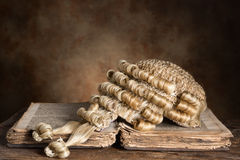 Barrister's wig on old book. Genuine horsehair barrister's wig on an antique book (300 years old royalty free stock photos