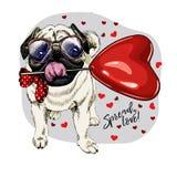 Barro amasado dibujado mano con el baloon de la forma del corazón Tarjeta de felicitación del día de San Valentín del vector El p fotos de archivo