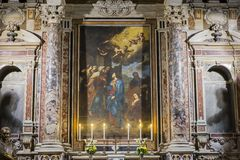 Barroco church of the Gesu Nuovo, Naples, Italy Royalty Free Stock Photos