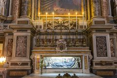 Barroco church of the Gesu Nuovo, Naples, Italy Royalty Free Stock Images