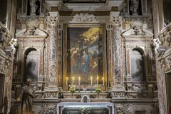 Barroco church of the Gesu Nuovo, Naples, Italy Royalty Free Stock Image