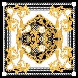 Barroco com o lenço preto branco do ouro elementos dourados em barroco, estilo dos rococós ilustração royalty free