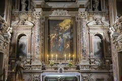 Barrocokerk van Gesu Nuovo, Napels, Italië royalty-vrije stock afbeelding
