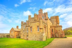 Barrogill castle of Mey. Of Thurso town of the north coast of the Highland in Scotland, United Kingdom. Castle of Mey is a popular landmark and famous touristic royalty free stock photos