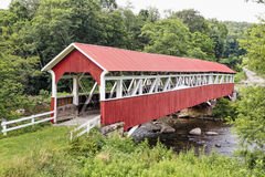 Barronvale Covered Bridge. The historic red Barronvale Covered Bridge crosses Laurel Hill Creek in rural Somerset County, Pennsylvania Royalty Free Stock Photography