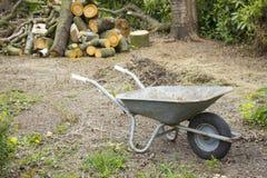Barrow in the garden. Work in the garden royalty free stock photos