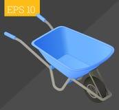 Barrow isometric vector illustration. Wheelbarrow cart eps10 vector illustration. empty barrow Royalty Free Stock Photography