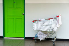 Barrow put cleaning supplies and towels for hotels. Royalty Free Stock Photography