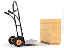 Barrow truck and box. Barrow truck and wooden box on white background Royalty Free Stock Photo