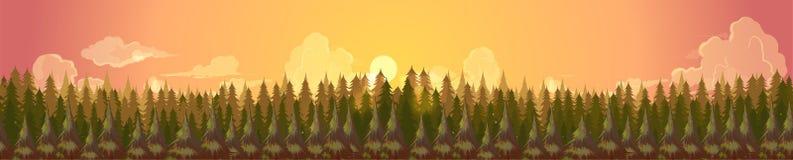 Barrskogkonturmall Baner för landskap för sommarpanoramabakgrund, vektorillustration för din design Royaltyfri Fotografi