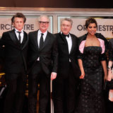 Barry Levinson, Gunst Hightower, Robert De Niro, Sean Penn stock foto's