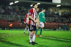 Barry McNamee bij Liga van Eerste de Afdelingsgelijke Cork City FC van Ierland versus Derry City FC royalty-vrije stock foto's