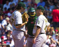 Barry Zito, Jason Kendall e Curt Young Immagine Stock
