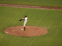 Barry Zito lifts leg high as he prepares to pitch Royalty Free Stock Images