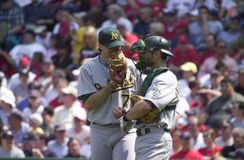 Barry Zito och Jason Kendall royaltyfria foton