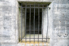 Bars. Looking into a prison window through iron bars Royalty Free Stock Photography