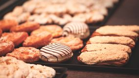 Bars cakes buns cookies background, Dessert, sweets for tea. Fattening sweets concept.  stock images