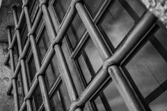 The oblique grids. The bars of the Cathedral of Porto in a different perspective Stock Image