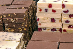Bars of classical and white chocolate Royalty Free Stock Images