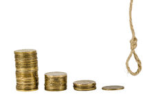 Bars of coins and knoted rope Royalty Free Stock Image