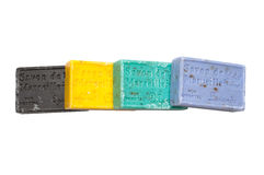 Bars colorés de savon dans différentes couleurs images stock