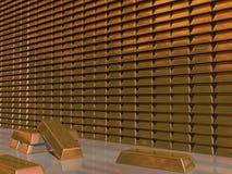 Bars d'or dans la chambre forte Images stock
