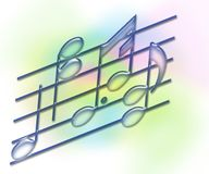 Bars de musique et notes - doucement pastel Images libres de droits