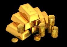 bars et pièces de monnaie d'or 3d illustration libre de droits