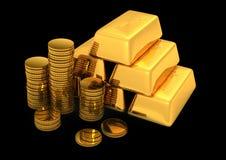 bars et pièces de monnaie d'or 3d illustration stock