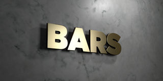 Bars - Gold sign mounted on glossy marble wall  - 3D rendered royalty free stock illustration Stock Image