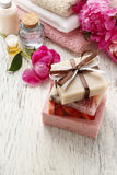 Bars of handmade soap and other natural cosmetics Stock Images