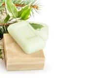 Bars of herbal handmade soap Stock Photo