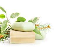 Bars of herbal handmade soap Royalty Free Stock Images