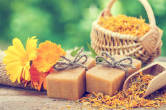 Bars of homemade soaps and calendula flowers. Royalty Free Stock Photography