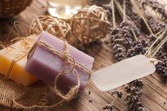Bars of homemade soaps. Dry lavender flowers Stock Photo