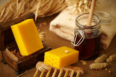 Bars of honey soap stock photography