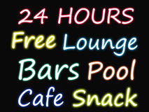 Bars neon sign. Collection of glowing bars and lounge neon signs Stock Image