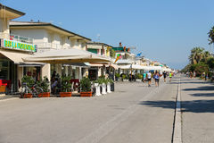 Bars and restaurants on the beach line in Viareggio, Italy Royalty Free Stock Photography