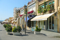 Bars and restaurants on the beach line in Viareggio, Italy Royalty Free Stock Images
