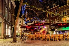 Bars and restaurants with christmas lights in Maastricht Royalty Free Stock Photography